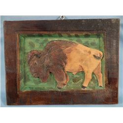 "Buffalo wood carved on board, signed ""Powell"" lower right corner, 7"" x 9"""