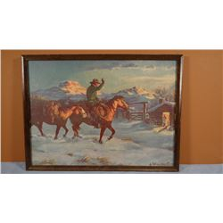 2 Olaf Weighorst prints, framed, cowboys