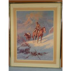 Olaf Weighorst print, mountain man, framed