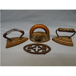 "3 small sad irons w/trivets, 3"" & 4"""