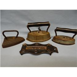 3 small sad irons w/ asstd trivets, 4 1/2""