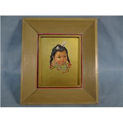 "E. Lockrie, oil on board, Indian Child portrait, 4"" x 5"", framed by Snook Art, Blgs."