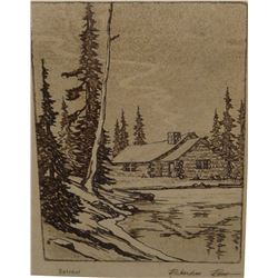 "Richardson Rome, etching, Retreat, 3"" x 4"""