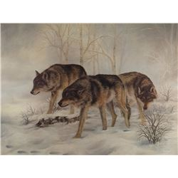 "Ronilee Lynch,  Wolf scene, signed print, 18"" x 24"", framed"