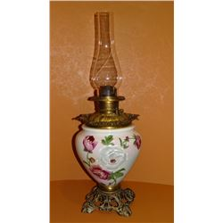 Kerosene lamp, flowered porcelain bowl
