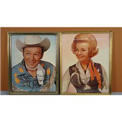 "Roy Rogers & Dale Evans framed & signed photos, 8"" x 10"""