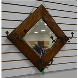 Vintage oak framed mirror and hat rack, fancy