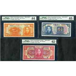 Central Bank of China, 1926, Trio of Specimen Notes