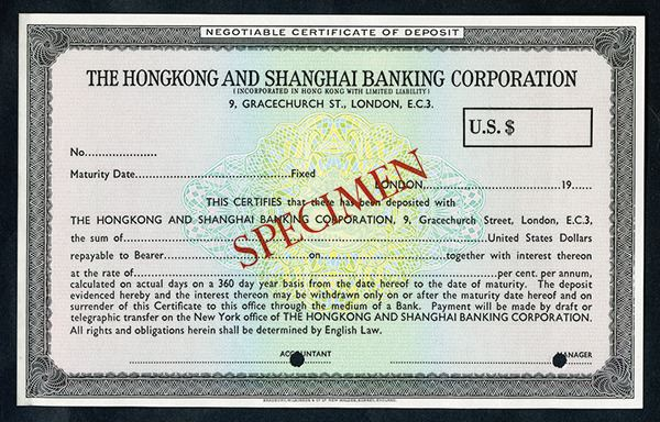 Hongkong and Shanghai Banking Corporation, Negotiable Certificate of ...