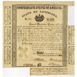 State of Louisiana, C.S.A., 1863 Bond Signed by Thomas O. Moore and also Henry W. Allen, as Governor