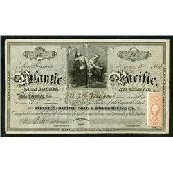 Atlantic and Pacific, 1866 Issued Stock Certificate.