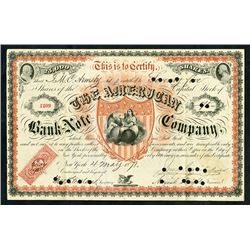 American Bank Note Company, 1871 Stock Certificate Rarity.