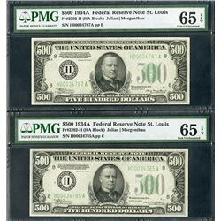 Federal Reserve Note, $500 1934A, Fr#2202-H (HA Block) High Grade Pair.
