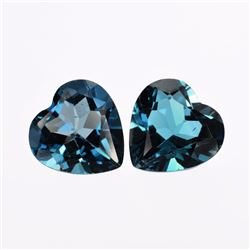 Natural London Topaz Heart Pair 6.20 Cts