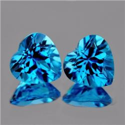 Natural Swiss Blue Topaz Heart Pair 9.12 carats - AAA