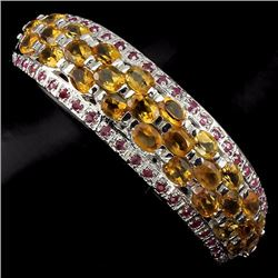 Natural Ruby & Yellow Citrine Bangle