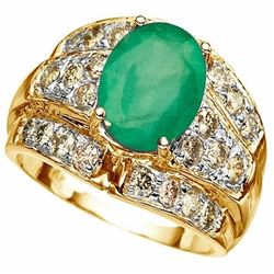 Stunning 4.00 ct Emerald & Diamond Solid Gold Ring