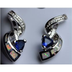 Natural London Blue Topaz & Opal Earrings