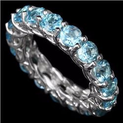 Natural Swiss Blue Topaz Eternity Band