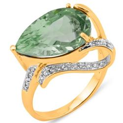 Natural Green Tea Amethyst Diamond Ring