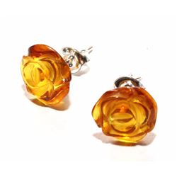 Natural Amber & Sterling Silver Ear Studs