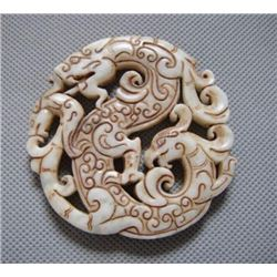 Hand Craved Jade Dragon Pendant