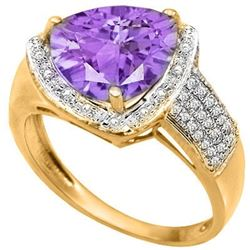 Natural Amethyst & 1/5 Cts Diamond Ring