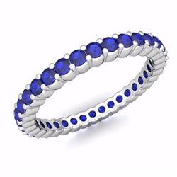 Natural Royal Blue Sapphire & Solid Gold Eternity Band