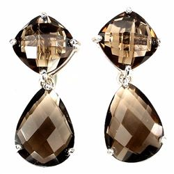 Natural Cushion & Pear Smoky Topaz Earrings