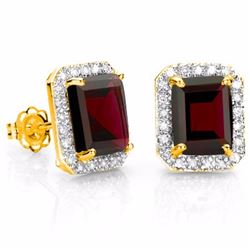 Natural Persian Red Garnet & Diamond 4.45 ct Earrings