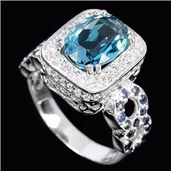 Natural London Blue Topaz & Sapphire Ring