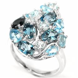 Natural London & Sky Blue Topaz Ring