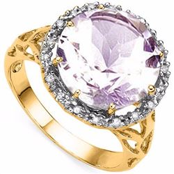 Natural Pink Amethyst & Diamond Ring