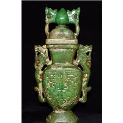 Antique Chinese Jade Hand-Carved Dragon Vase