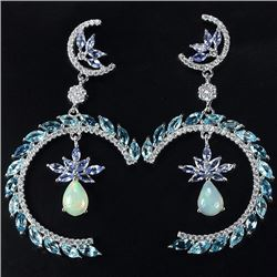 Natural Opal Tanzanite & Topaz Earrings