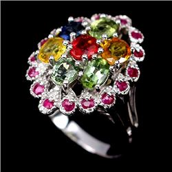 Natural Fancy Sapphire & Ruby Ring