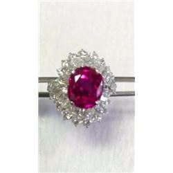 Natural Red Burma Ruby & Diamond Ring - GIA