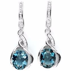 LONDON BLUE TOPAZ 925 SILVER EARRINGS
