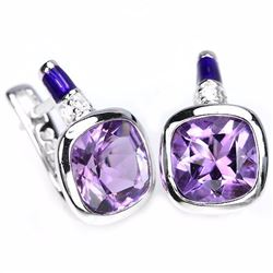 Natural Amethyst Enamel Earrings