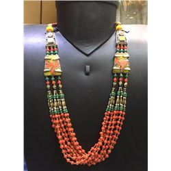 Tibet Natural Stone Hand Made Turquoise, Coral & Amber