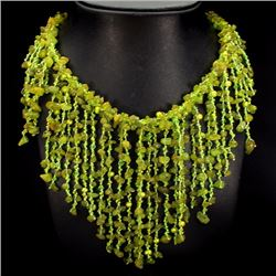 Natural Peridot, Pearl & Crystal 708 Carats Necklace