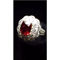 Natural Pigeon Blood Red Ruby Diamond & Gold Ring