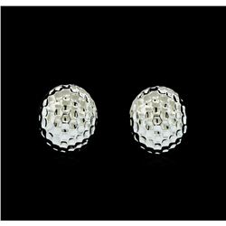 Hammered Metal Oval Earrings - Rhodium Plated