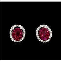 2.20 ctw Ruby and Diamond Earrings - 18KT White Gold