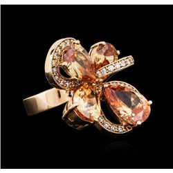 14KT Rose Gold 11.22 ctw Citrine and Diamond Ring