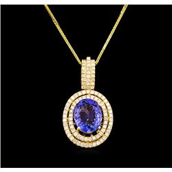 14KT Yellow Gold 4.20 ctw Tanzanite and Diamond Pendant With Chain