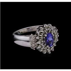 0.15 ctw Tanzanite and Diamond Ring - 14KT White Gold
