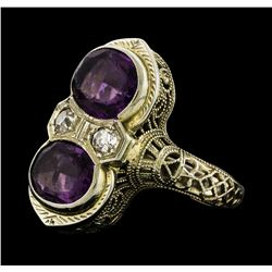 2.00 ctw Amethyst and Diamond Ring - 18KT White Gold