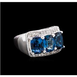 Crayola 3.00 ctw Blue Topaz and White Sapphire Ring - .925 Silver