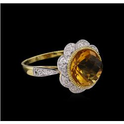 4.56 ctw Citrine and Diamond Ring - 14KT Yellow Gold